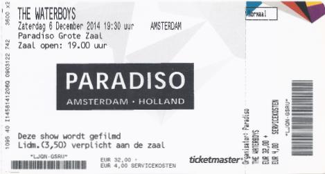 The Waterboys 06-12-2014 concertkaartje (apoplife.nl)
