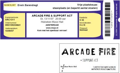 Arcade Fire 13-11-2007 concertkaartje (apoplife.nl)