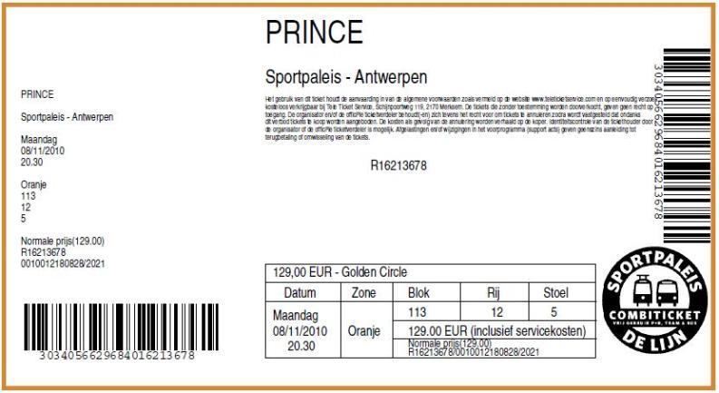 Prince 08-11-2010 concertkaartje (apoplife.nl)