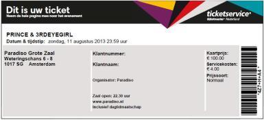 Prince & 3rdEyeGirl 11-08-2011 (2) concertkaartje (apoplife.nl)