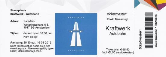 Kraftwerk 16-01-2015 concertkaartje (apoplife.nl)