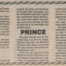Prince And The Revolution - Around The World In A Day recensie - krant onbekend 29-07-1985 (apoplife.nl)