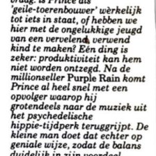 Prince And The Revolution - Around The World In A Day recensie - krant onbekend Q2-1985 (Prince: The Dutch Experience - Edgar Kruize)