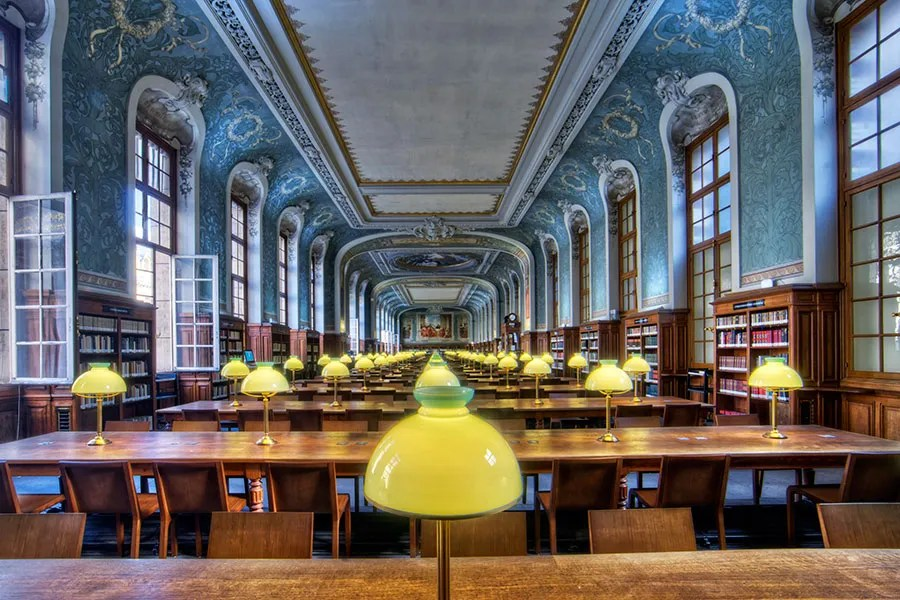 Originally opened in 1328, the Reading Room Saint-Jacques at the Library of the Sorbonne in Paris was restored between 1885 and 1901 by the French architect Henri Paul Nénot.