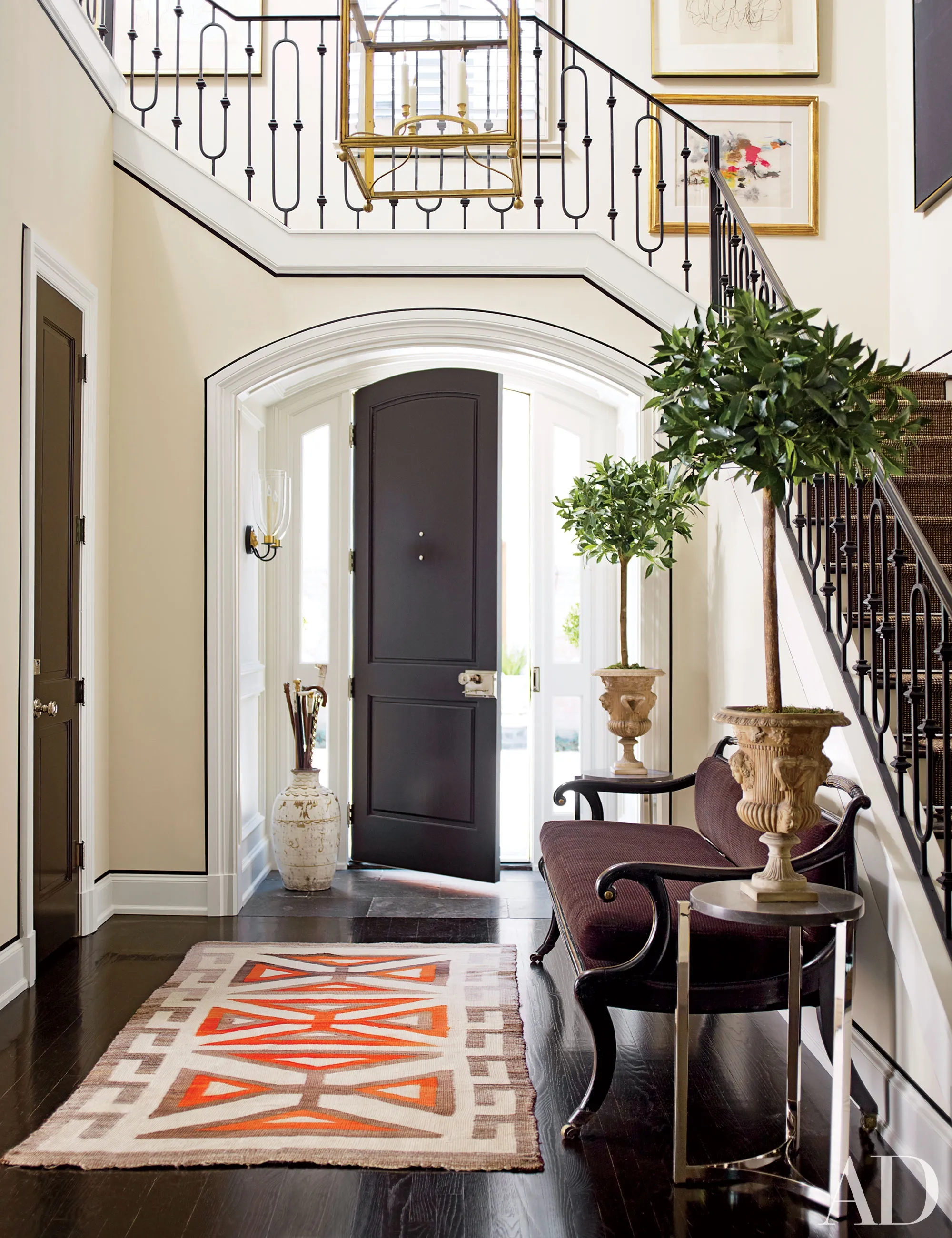 Foyer And Staircase Before And After Makeovers Architectural Digest | Interior Staircase Design In Main Hall For Duplex House | Residential Stair | Middle Class Village Indian House | View | 16X16 Hall | Beautiful
