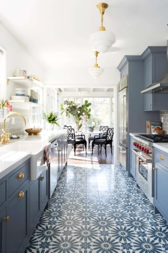 Small Galley Kitchen Ideas   Design Inspiration   Architectural Digest blue kitchen by Emily Henderson