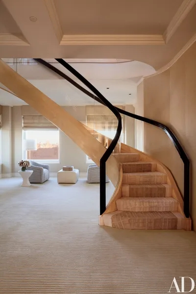 15 Striking Modern Staircases Architectural Digest | Glass Balustrade With Wooden Handrail | Contemporary | Glass Panel | Interior | Guardrail | Atrium