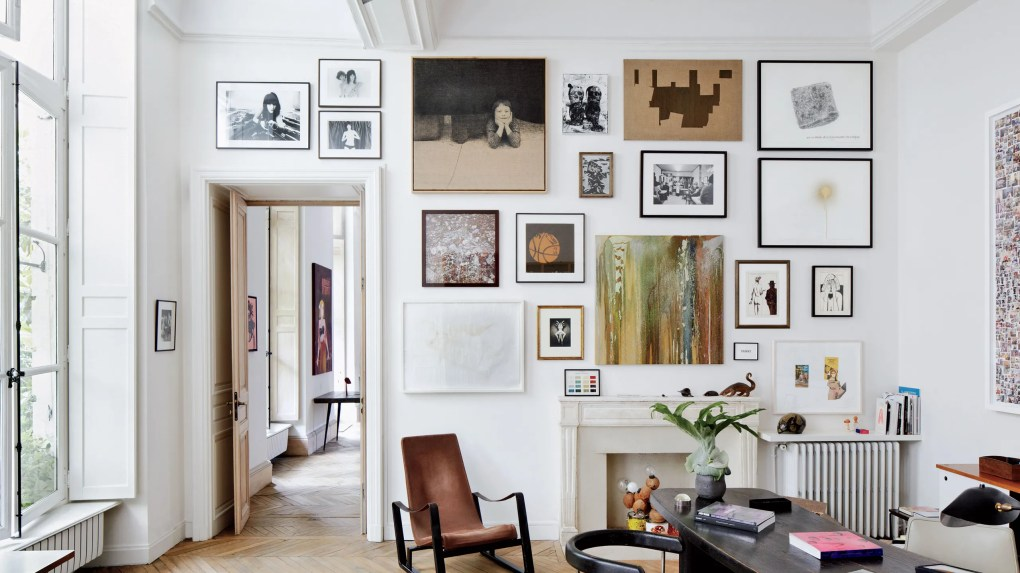 Patricks study features a wall of artworks by Richard Kern David Noonan Sam Durant Carol Bove and others