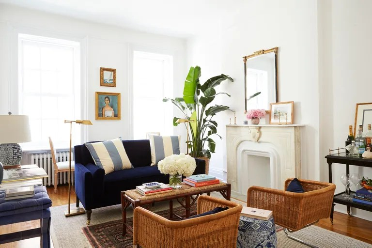 Amy Stones Brooklyn Living Room Featuring Wicker Chairs And A Small Velvet Sofa