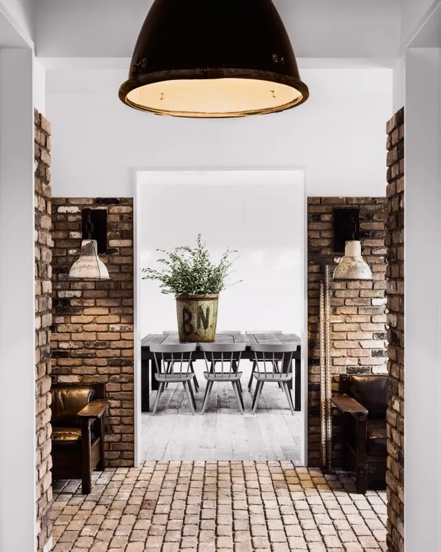 Dining Room through brick walkway in Home of Diane Keaton for the book The House That Pinterest Built.