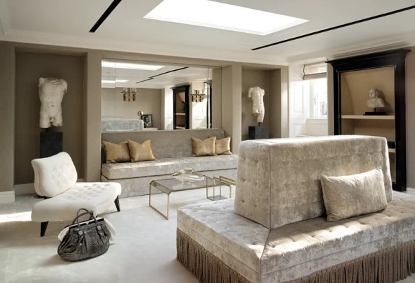 A neutral palette in this London home allows the textures in the textiles to shine through.