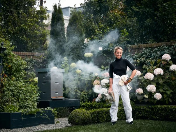 """""""The bees are everything,"""" says Thomas of the hive in her garden. """"They make the gardens so beautiful. We have them in the city and in Napa, and we find we can't be without them now."""""""