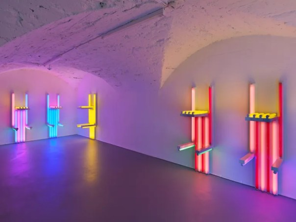 """""""Dan Flavin, to Lucie Rie and Hans Coper, master potters"""" at the Vito Schnabel Gallery in St. Moritz."""