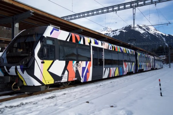 Sarah Morris train artwork.