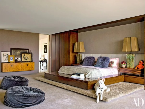 Shag pillows add texture in Aniston's Los Angeles bedroom.