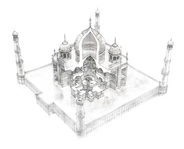 The Taj Mahal, rendered by Polley.