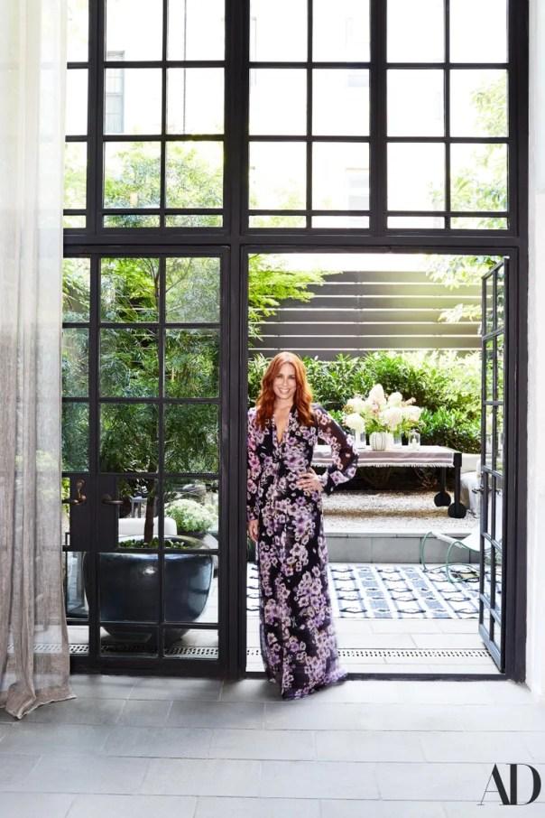 Gibsonin the garden doorway.
