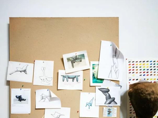 Sketches in Castle's studio.