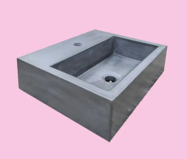 Square Concrete Sink With Shelf Where The Faucet Would Go