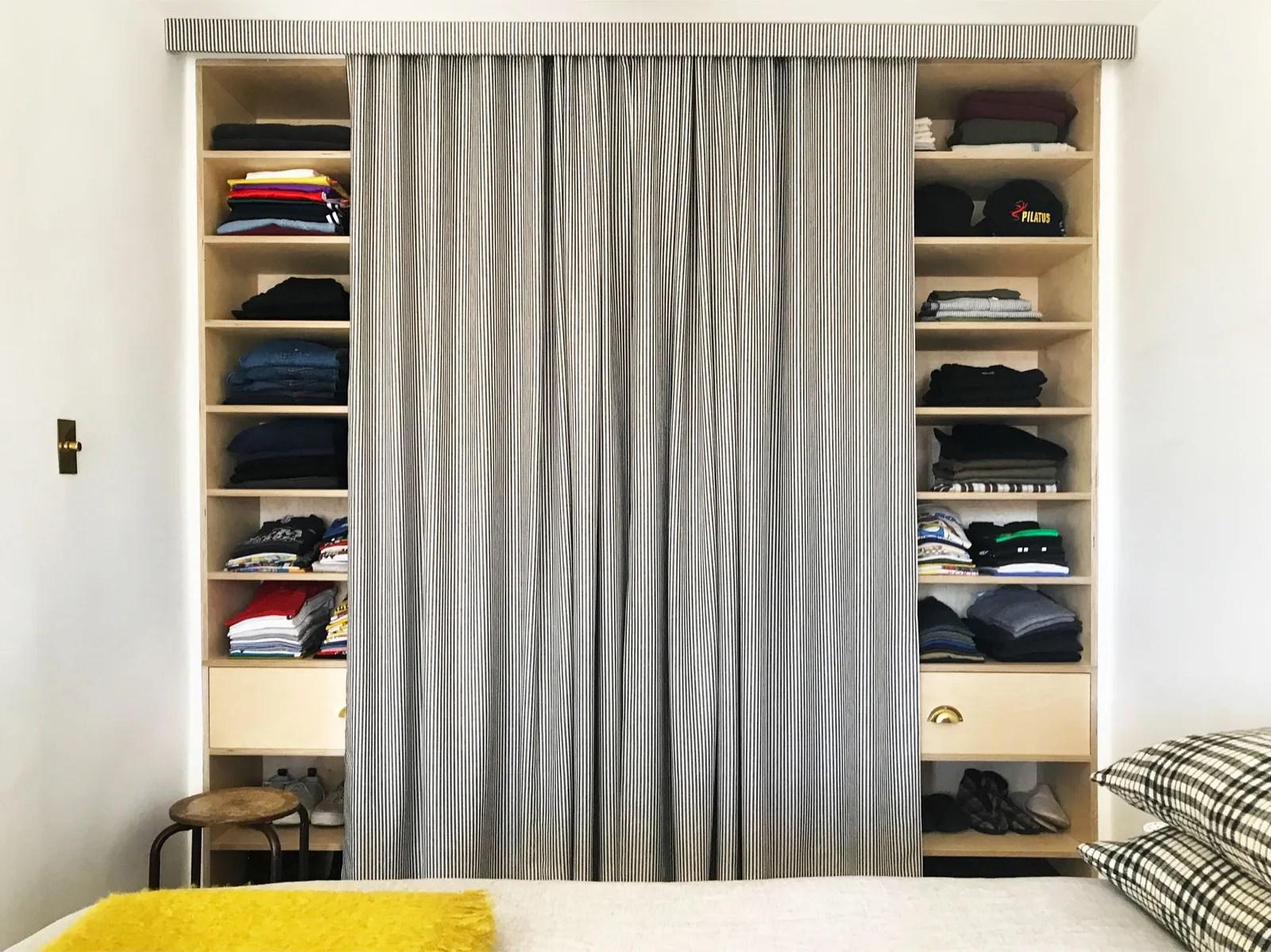 closet doors for a tailored curtain