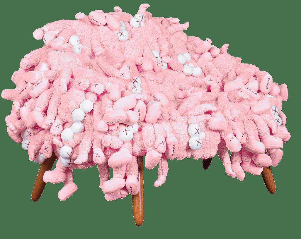 a plush pink chair