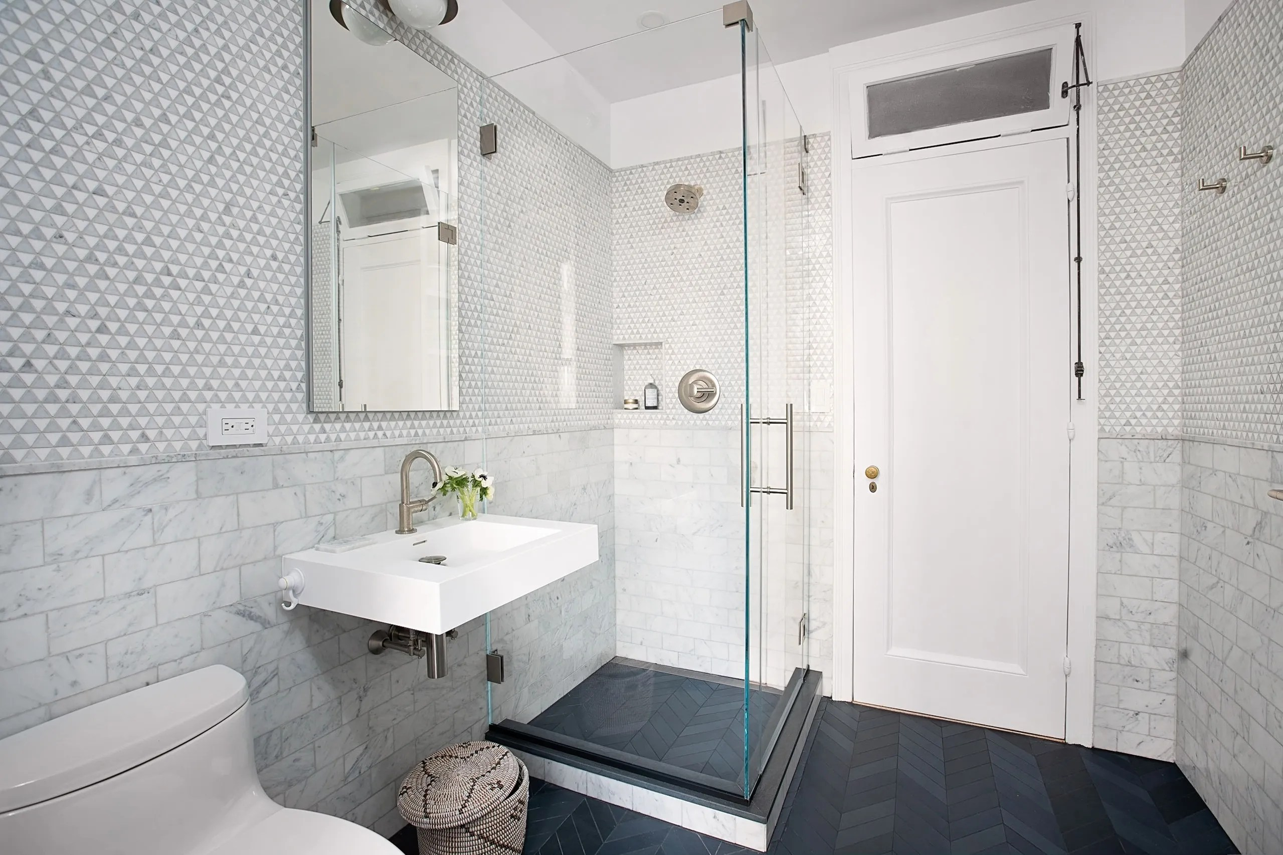 a bathroom remodel that added space and