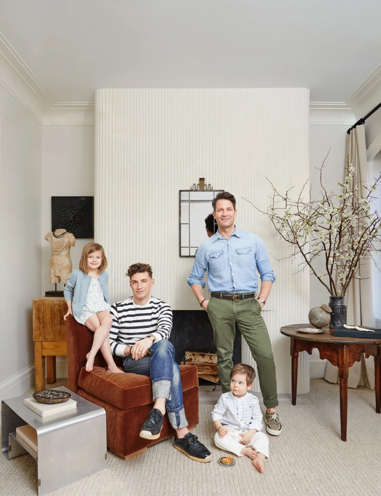Jeremiah Brent and Nate Berkus in their Manhattan town house with kids Poppy and Oskar.