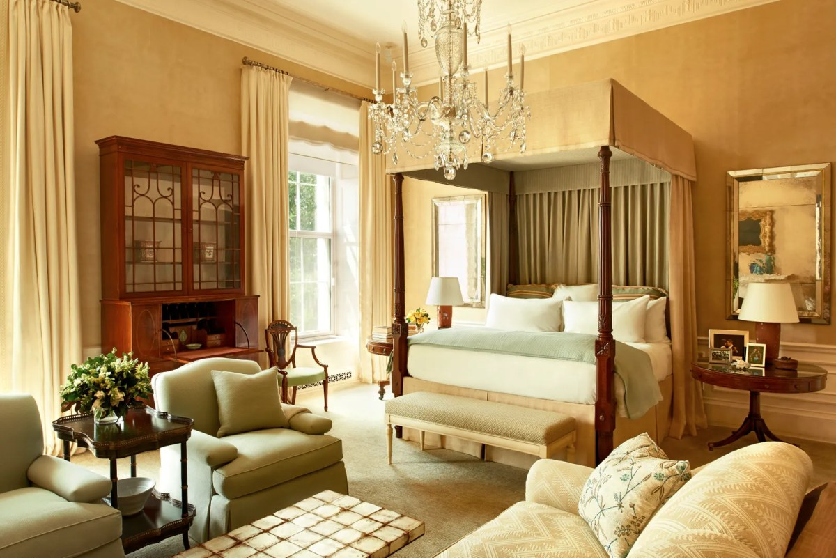 The Obamas bedroom in the White House. Book by Rizzoli.
