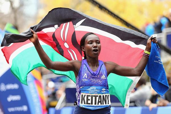 Mary Keitany after winning the 2015 New York City Marathon (Getty Images)
