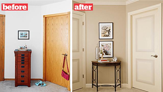 Sơn sửa lại cửa, tường, sắp xếp lại gọn gàng đồ đạc, bạn có thể bán nhà với giá cao hơn hẳn. Ảnh: Lowes.
