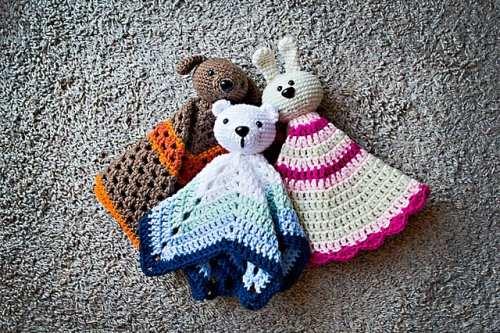 Virka babysnuttefiltar, hund, kanin, björn