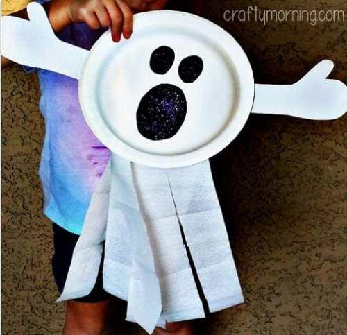 pyssel, pysseltips, pyssla, skapa, barnpyssel, pyssel för barn, papperstallrik, Halloween pyssel, göra spöke