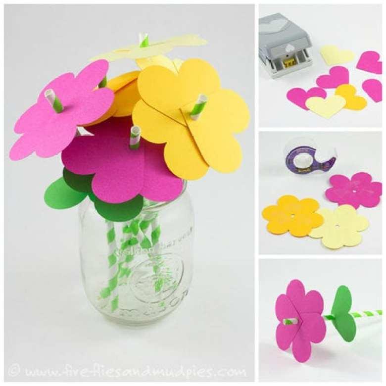 pyssel, pysseltips, pyssla, papper, papperspyssel, pyssla med papper, pappersblommor, blomma i papper, sugrör