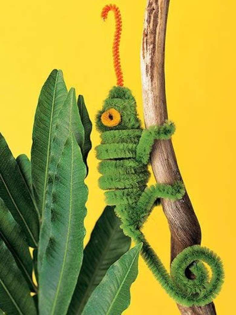 barnpyssel, pyssel för barn, pyssel, enkelt pyssel, pysseltips, pysselidé, piprensare, kameleont