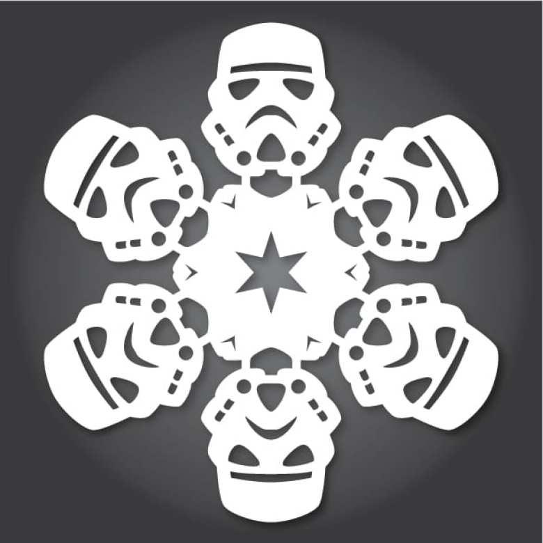 pyssel, pysseltips, pysselidé, inspiration, kreativitet, skapa, skapande, barns skapande, vinter, vinterpyssel, pyssla, pyssel för barn, barnpyssel, pyssel för skola, pyssel för förskola, familjepyssel, Star Wars, pyssel med Star Wars, snöflinga, klippa, sax, papper, papperspyssel, Stormtrooper, Imperiet