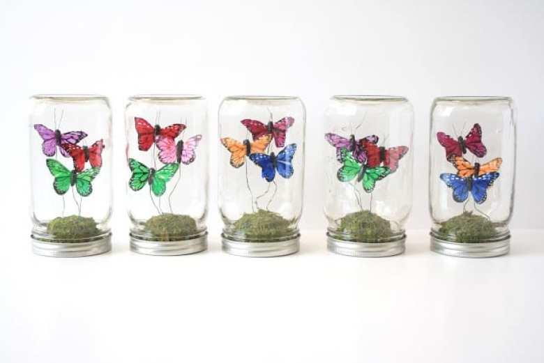 glasburk, glasburkar, mason jars, burk, förvaring, pyssel, pysseltips, pyssla, inredning, pysselidé, idé, idéer, skapa, tips, inspiration, prydnad, prydnadssak, fjärilar, dekor, dekorfjärilar, terrarium