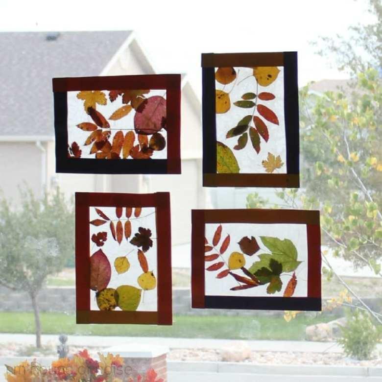 höstpyssel, pyssel, pysseltips, pyssla, barnpyssel, pyssel för barn, höstlöv, löv, fönster, fönsterdekoration