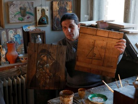 'Buy an Icon – Save a Life': Ukrainian Artist Couple Turns Military Ammunition Boxes Into Christian Icons to Raise Money for Wounded Soldiers