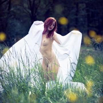 Séance photo nu dans la nature modèle avec voile blanc fleurs
