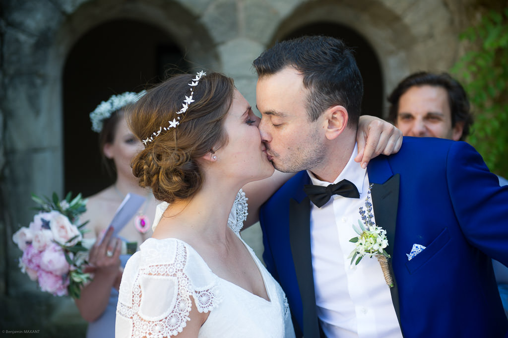 The kisses of the bride and groom