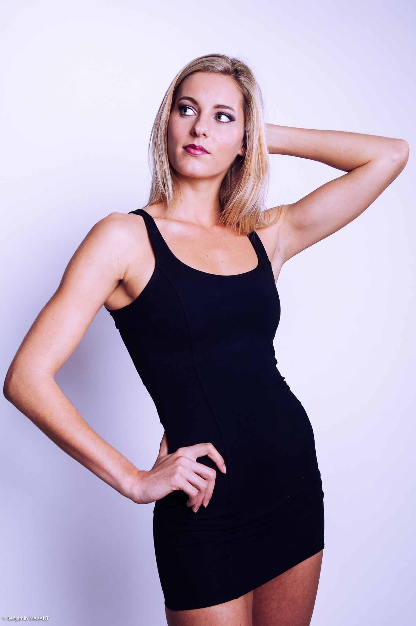 Casual photo shoot in studio sexy black blonde model dress
