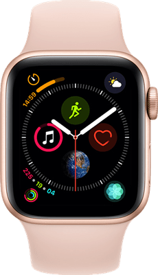 Apple Watch Series 4 40mm(GPS) Gold Aluminium Case with Pink Sand Sport Band at £30.00 on Smartwatch (24 Month(s) contract) with UNLIMITEDMB of 4G data. £26.00 a month.