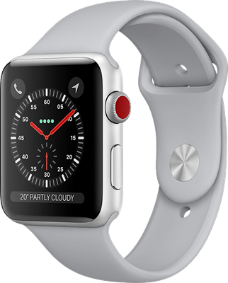 Apple Watch Series 3 42mm (GPS+Cellular) Silver Aluminium Case with White Sport Band at £20.00 on Smartwatch (24 Month(s) contract) with UNLIMITEDMB of 4G data. £20.00 a month.