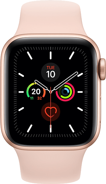 Apple Watch Series 5 44mm (GPS+Cellular) Gold Aluminium Case with Pink Sand Sport Band at £30.00 on Smartwatch (24 Month(s) contract) with UNLIMITEDMB of 4G data. £28.00 a month.
