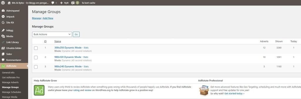 Hantera affiliate länkar med AdRotate, ett WordPress plugin, och skapa enkelt annonsgrupper för dina affiliate länkar.