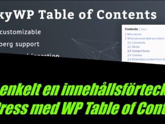 WordPress innehållsförteckning (Table of contents plugin)