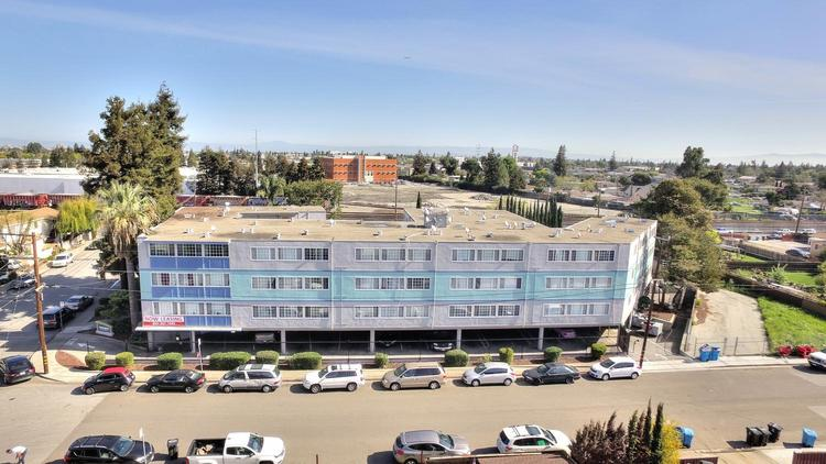 An aerial shot of the Buckingham Apartments in Redwood City.