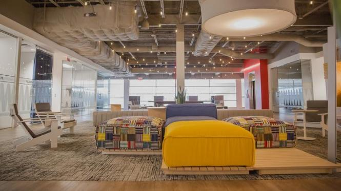 A Glimpse At The Open Concept Floor Plan Of Portions Mattress Firm S New Headquarters