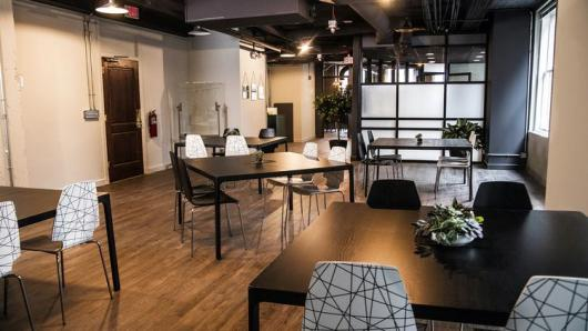 The coworking space at 1628 offers a number of different seating options.