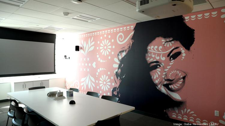 A photo of Selena Quintanilla is located on the wall of a conference room at the Hulu Viewer Experience Operations headquarters on Tuesday, Nov. 28, 2017, in San Antonio.